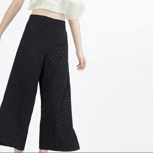Zara Silky Wide Leg Crop Polka Dot Black Pants